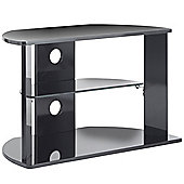 VonHaus High Gloss MDF Black TV Stand with 3 Shelves for TVs up to 37""