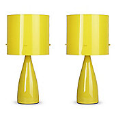 Pair of Ceramic Table Lamps in Yellow