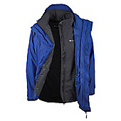 Bracken Mens 3 in 1 Waterproof Outer and Detatchable Softshell Inner Coat Jacket - Blue