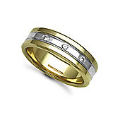 Jewelco London 18ct Yellow & White Gold 7mm Flat Court Diamond set 9pts Trilogy Wedding / Commitment Ring