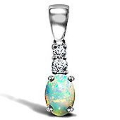 9ct White Gold Diamond and Opal Pendant