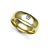 Jewelco London 18ct Yellow Gold 7mm Court Diamond set 10pts Solitaire Wedding / Commitment Ring