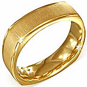 Urban Male Men's Gold Plated Stainless Steel Satin Finish Square Shape Ring