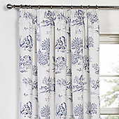 Julian Charles Toile Blue Luxury Jacquard Pencil Pleat Curtain -168x183cm