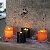 Set of 4 Black & Orange Halloween Battery LED Tea Light Candles