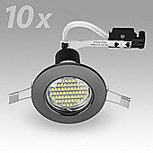Pack of 10 MiniSun Recessed 3W LED GU10 Downlights in Black Chrome