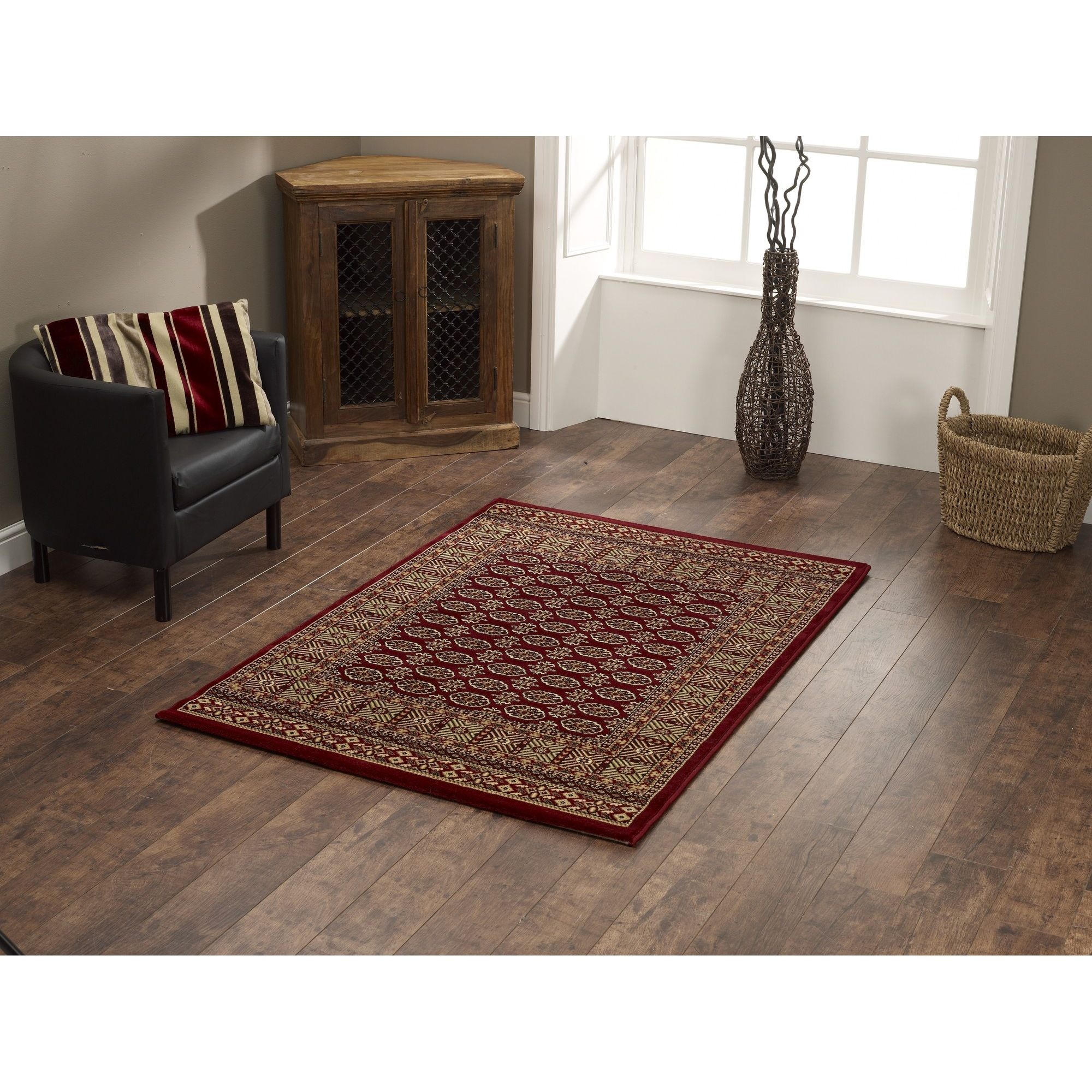 Oriental Carpets & Rugs Bokhara Red Rug - 340cm L x 240cm W at Tesco Direct