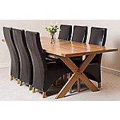 Vermont Solid Oak Crossed Leg 200 cm Extending Dining Table with 6 Lola Fabric Dining Chairs (Brown)