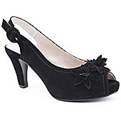Emilio Luca X Ladies Petal Slingback Black Heeled Shoes