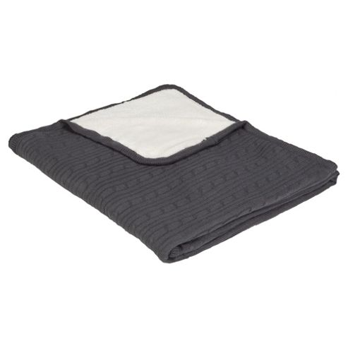 Reversible Knit/Fleecy Throw Charcoal Quartz