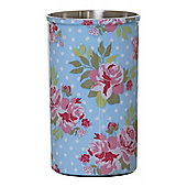 Linea Stainless Steel Floral Tumbler In Blue