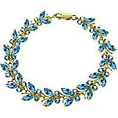 QP Jewellers 8in 16.50ct Blue Topaz Butterfly Bracelet in 14K Gold