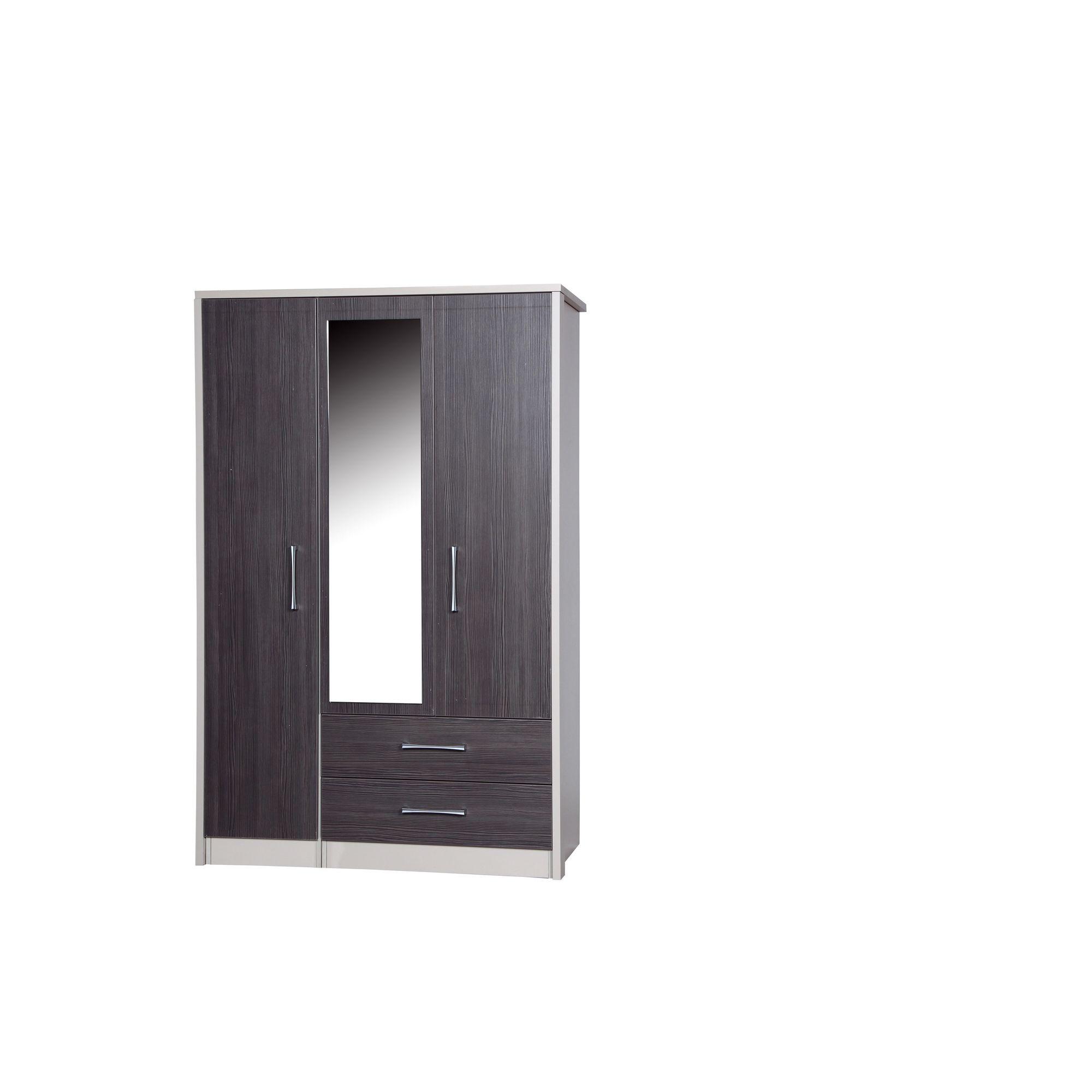 Alto Furniture Avola 3 Door Combi Wardrobe with Mirror - Cream Carcass With Grey Avola at Tesco Direct
