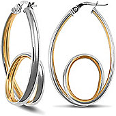 Jewelco London 9ct Yellow and White gold Looped Earring