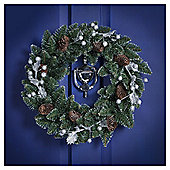 Silver Glitter Leaf and Berry Christmas Wreath, 45cm