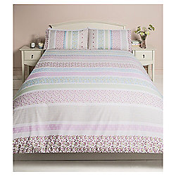 Ditsy Floral Stripe Single Duvet Set