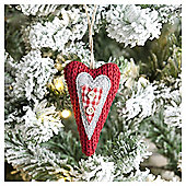 Weiste Red Knitted Heart Christmas Tree Decoration