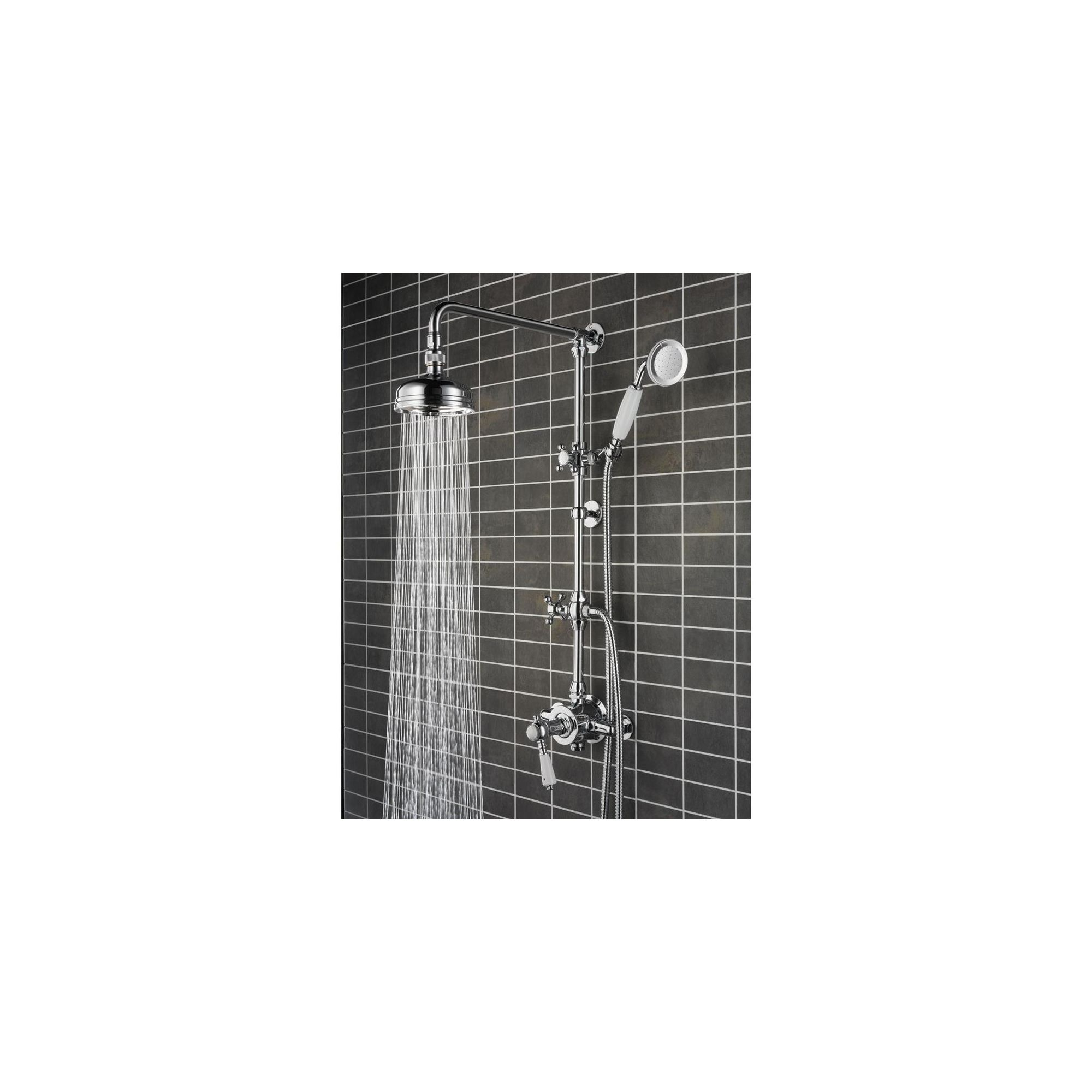 Bristan Cardinal Thermostatic Surface Mounted Shower with Rigid Riser and Diverter to Shower Handset Chrome Plated at Tesco Direct