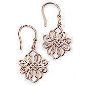 Rose Gold Plated Filigree Drop Silver Earrings