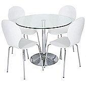 LEVV 5 Piece Dining Table Set - White