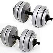 Palm Springs Fittness 30Kg Vinyl Dumbbell Weights Set Silver