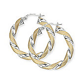 Jewelco London 9ct Yellow Gold - Two Tone Twisted Round Hoop Earrings -
