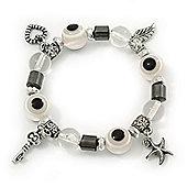 Evil Eye Black/White Acrylic Bead Protection Stretch Bracelet In Burn Silver - 9mm Diameter - Adjustable