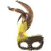 Black/Gold Sequin Mask +Yellow Feather