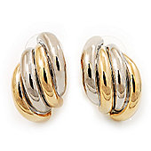 2-Tone 'Shell' Metal Stud Earrings - 2.5cm Length