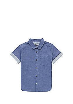 F&F Contrast Turn Up Denim Shirt - Blue