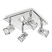 IP44 Ice Cube Four Way Bathroom Ceiling Spotlight in Mirror Chrome