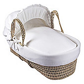 Clair de Lune Palm Moses Basket (Cotton Candy Ivory White)