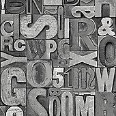 Muriva Slate Letters Wallpaper - Grey
