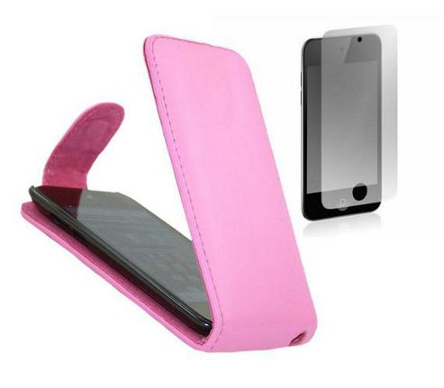 iTALKonline FlipMatic Easy Clip On Vertical Pouch Case with Screen Protector Pink - For Apple iPod Touch 4th Generation (4G)