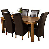 French Chateau Rustic Solid Oak 180 cm Dining Table with 6 Brown Montana Leather Chairs