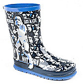 Character Boys Navy Stormtrooper Wellington Boots - Blue