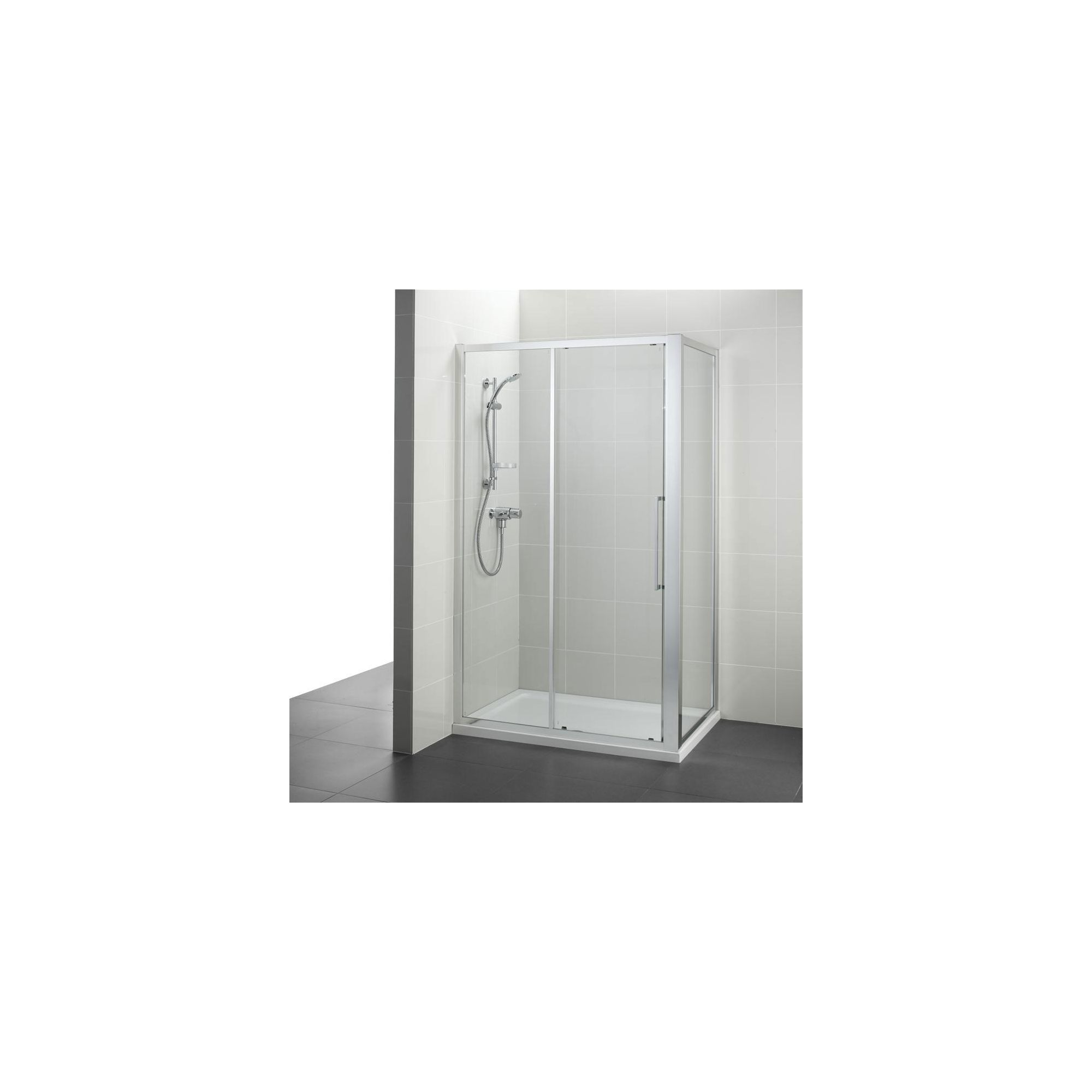 Ideal Standard Kubo Sliding Door Shower Enclosure, 1200mm x 800mm, Bright Silver Frame, Low Profile Tray at Tesco Direct