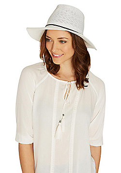 F&F Plait Trim Foldable Fedora - Cream