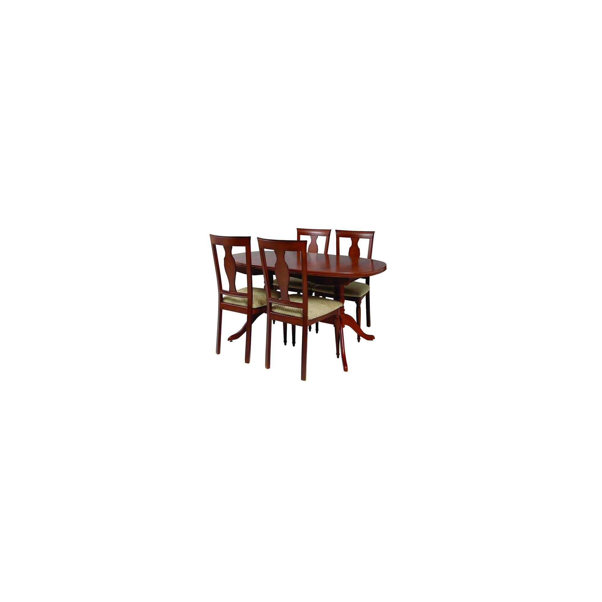 Caxton Lincoln Twin Pedestal 4 Chair Extending Dining Set in Cherry - Green at Tesco Direct