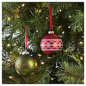 Tesco Glass Stitch Bauble, 3 Pack