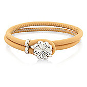 Jewelco London Sterling Silver - Beige Leather Wristpiece - Bangle - Ladies