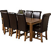French Chateau Rustic Solid Oak 180 cm Dining Table with 8 Brown Washington Leather Chairs