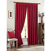 Dreams and Drapes Chenille Spot 3 Pencil Pleat Lined Curtains 46x90 inches (116x228cm) - Red