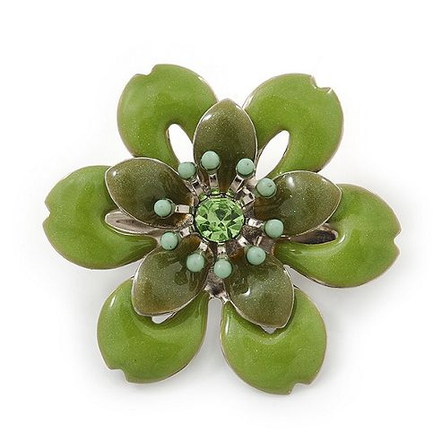 Small Grass Green 'Flower' Brooch In Silver Tone - 30mm Diameter