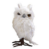 Small Left Facing White Fluffy Feathered Owl Christmas Ornament