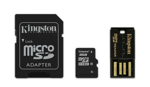 Kingston microSDHC 8GB Class 10 Card + SD Adapter + USB Reader