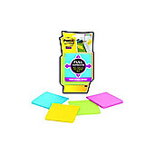 3M Post-it Super Sticky Full Adhesive Notes 76x76mm Assorted Pack of 4 F330-4SSAU