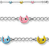 Jewelco London Sterling Silver Moons Charm Bracelet - Children's