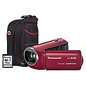 Panasonic HC-V130 Red Camcorder Kit inc 16GB Class 10 SD Card and Case