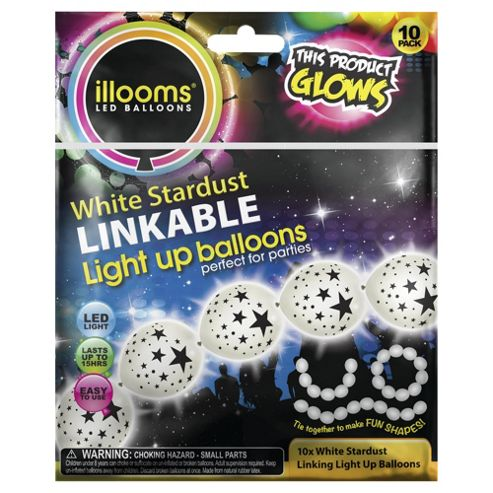 Illoom 10 Pack White Stardust Linkable Balloons